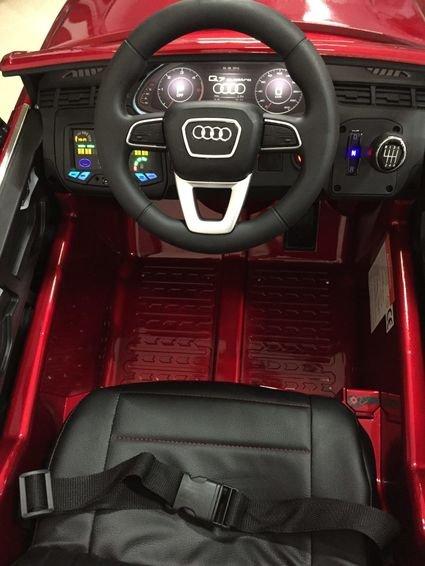 Электромобиль Audi Q7 S-line черный (резиновые колеса, кожа, пульт, музыка, глянцевая покраска)