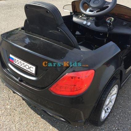 Электромобиль БМВ Б555ОС черный (колеса резина, сиденье кожа, пульт, музыка)