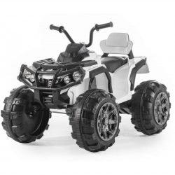 Электроквадроцикл Grizzly 2WD BDM0906 белый (колеса резина, сиденье кожа, пульт, музыка)
